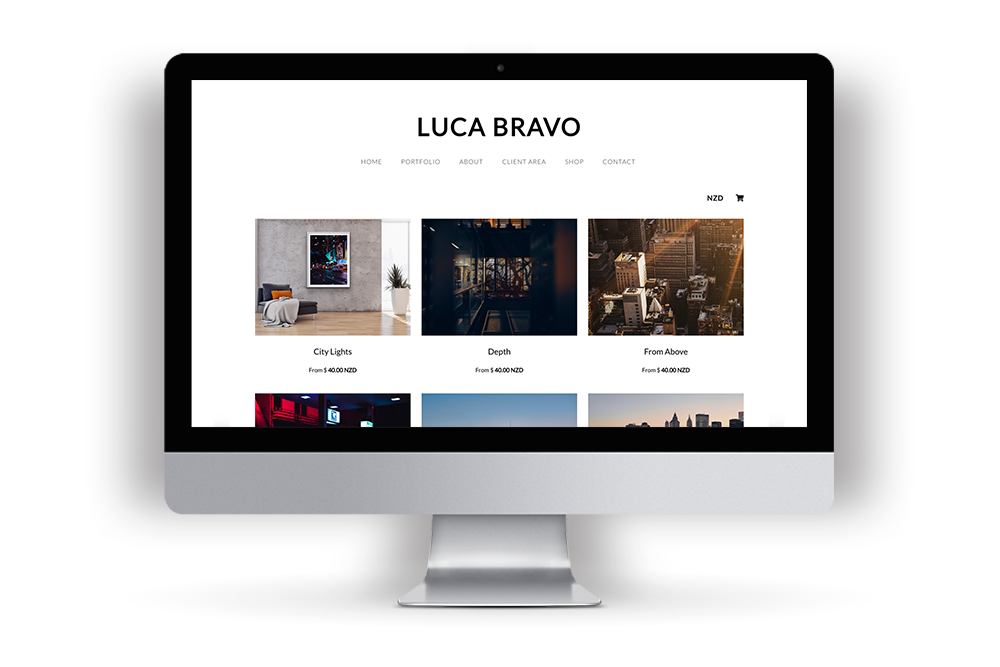 Print Shop Example Website with Luca Bravo's images
