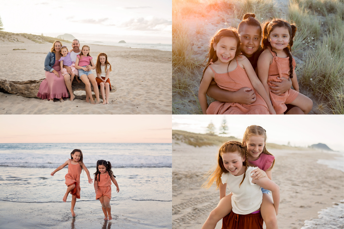 Mount Maunganui Beach family photography at sunset