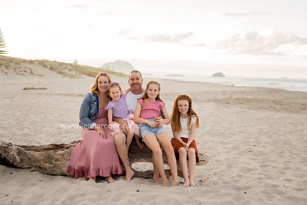 portait of family at Mount Maunganui Beach, Tauranga
